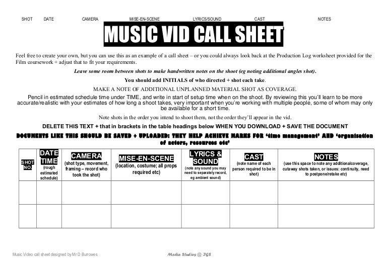 M vid call sheet