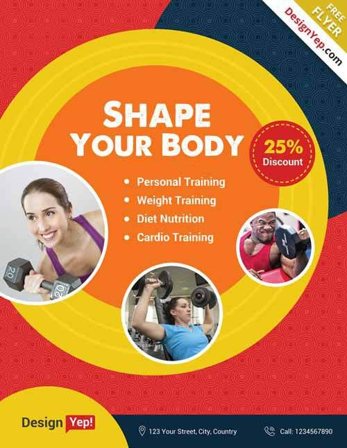 Clean Fitness Gym Free Flyer PSD Template - http://freepsdflyer ...