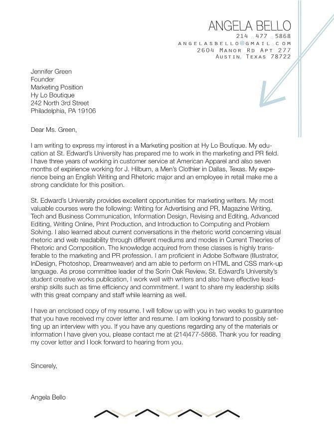 Cover Letter - Angela Bello