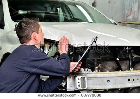 Professional Car Appraiser Evaluate Car Damage Stock Photo ...