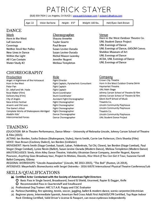 choreographer resume dancechoreography resume