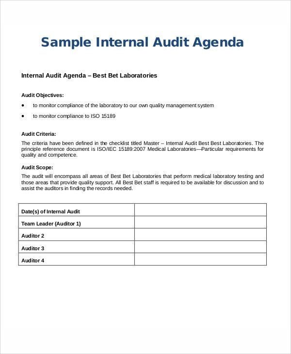 9+ Sample Audit Agenda - Free Sample, Example Format Downlaod ...