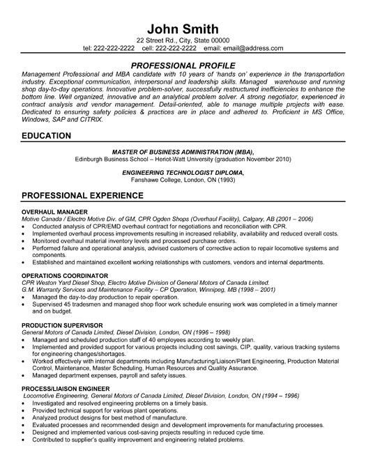 Management Resume Templates. Professional Project Manager Resume ...