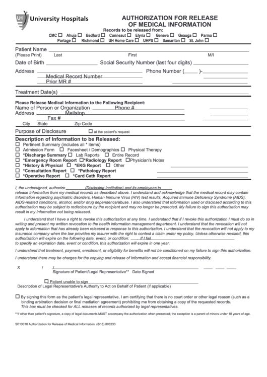 Top 79 Authorization To Release Medical Information Form Templates ...