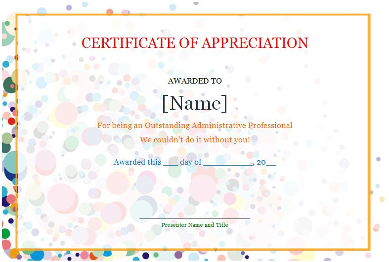 Certificate of Appreciation - Save Word Templates