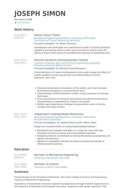 Honors Resume samples - VisualCV resume samples database