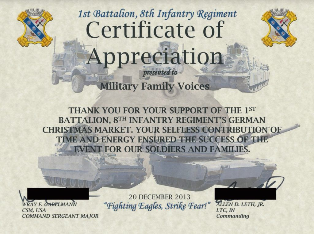 Army Certificate Of Appreciation Receipt For Cash Payment Contact ...