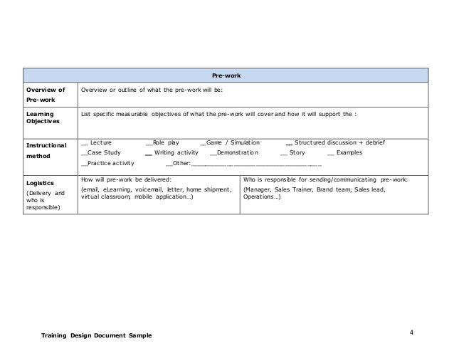 Training design document - Template 1
