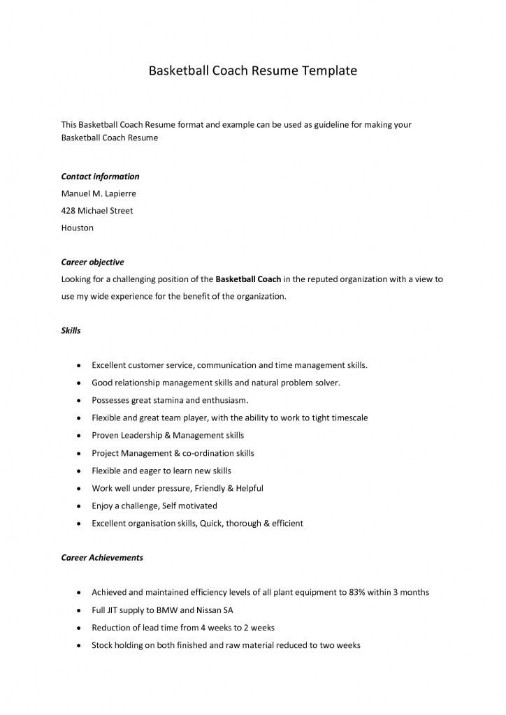 Download Basketball Coach Resume | haadyaooverbayresort.com