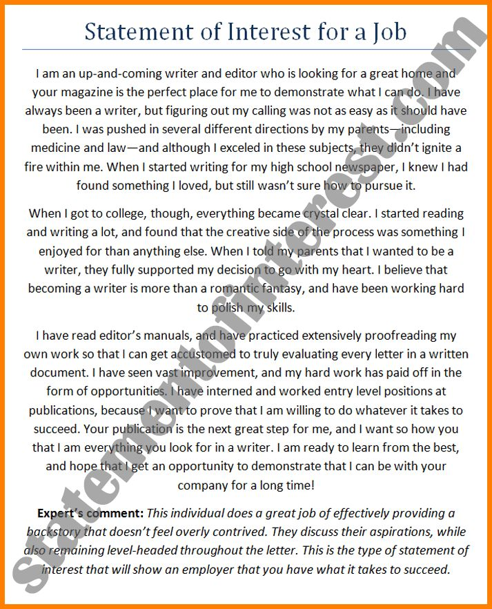 12+ cover letter statement of interest examples | Case Statement 2017