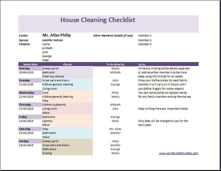 My House Cleaning Checklist Template | Word & Excel Templates