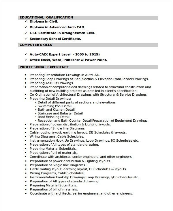 7+ Draftsman Resume Templates - Free Word, PDF Document Downloads ...