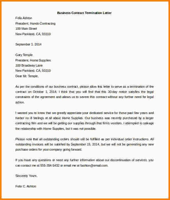 terminating a contract letter