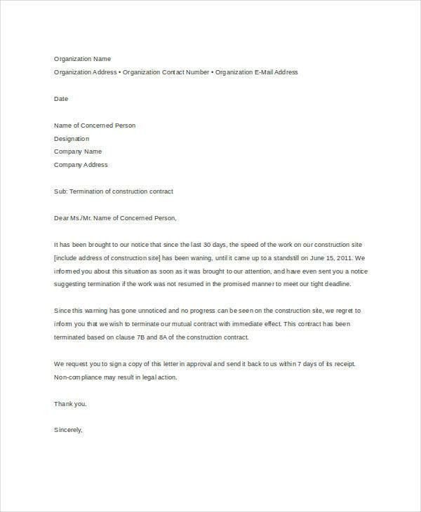 Letter of Termination Template - 8+ Free Sample, Example, Format ...