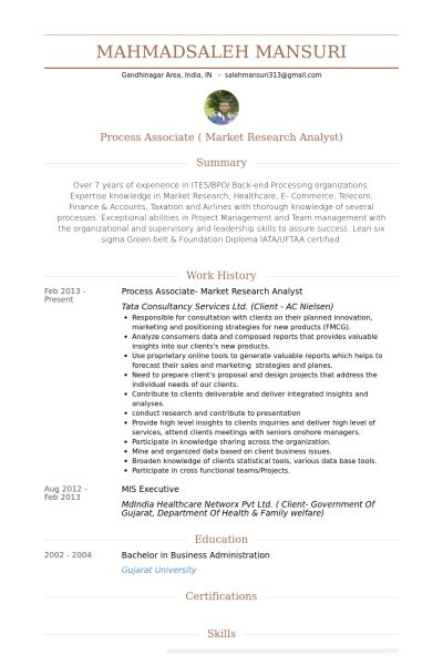 Market Research Analyst Resume samples - VisualCV resume samples ...