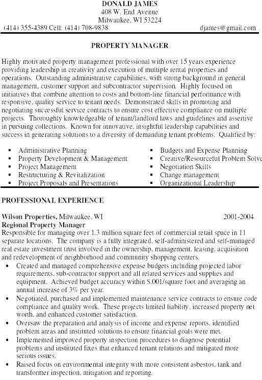 sample resume for property manager manager resume property