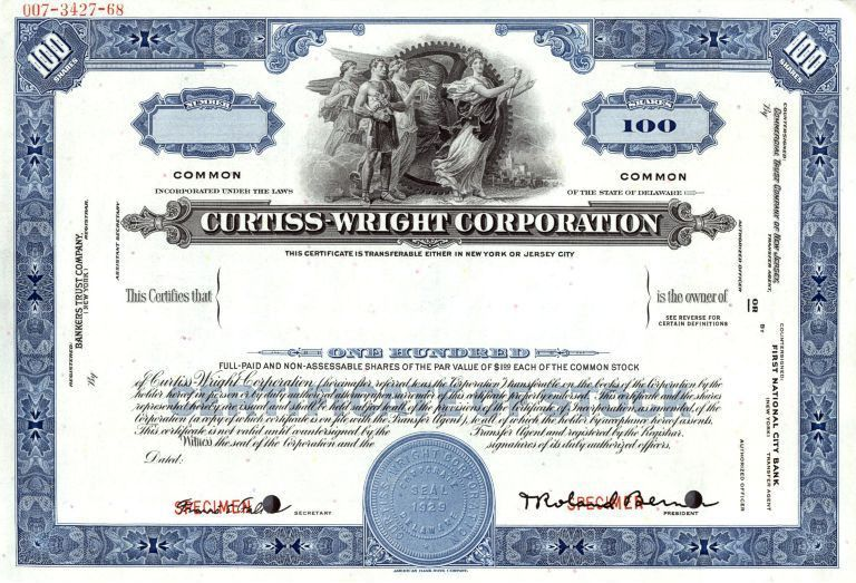 Curtiss - Wright Corporation Specimen Stock Certificate - Delaware ...