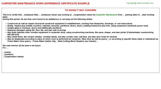Carpenter Maintenance Work Experience Certificate