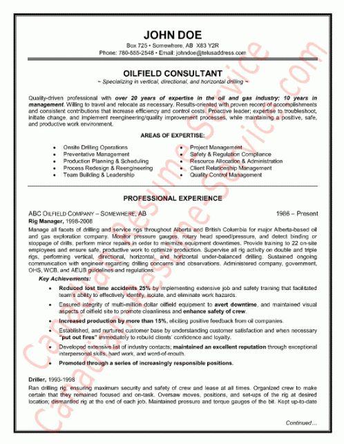 Image Oilfield Consultant Resume Sample Download, Oil Field Resume ...