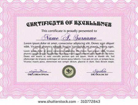 Sample Certificate Border Framecordial Design Guilloche Stock ...