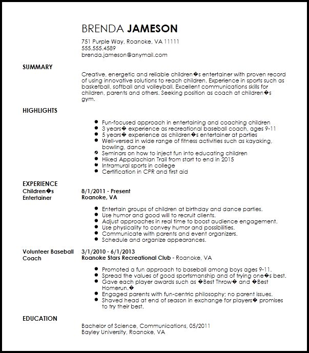 Free Creative Sports Coach Resume Template | ResumeNow