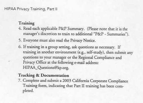 Kaiser Permanente HIPPA Privacy Training Manual Part II