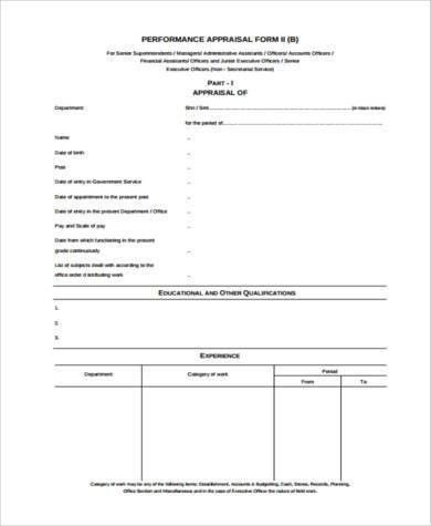 Sample Executive Performance Appraisal Form - 8+ Free Documents in ...