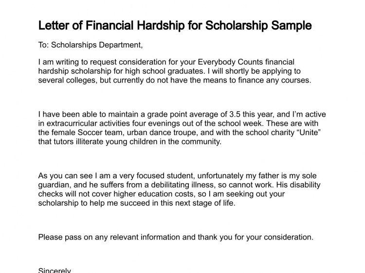 Letter of Financial Hardship
