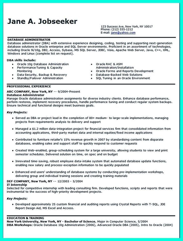 Sample Database Administrator Resume. Database-Administrator ...