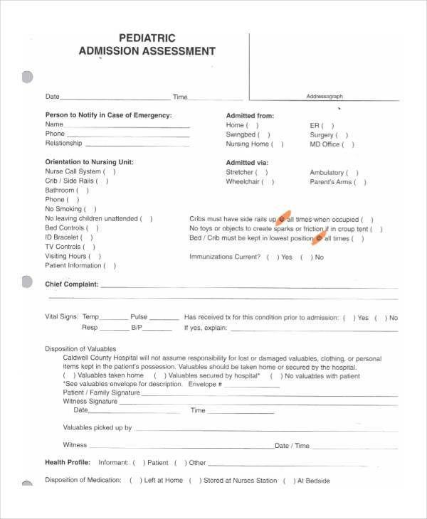 18+ Sample Nursing Assessment Forms