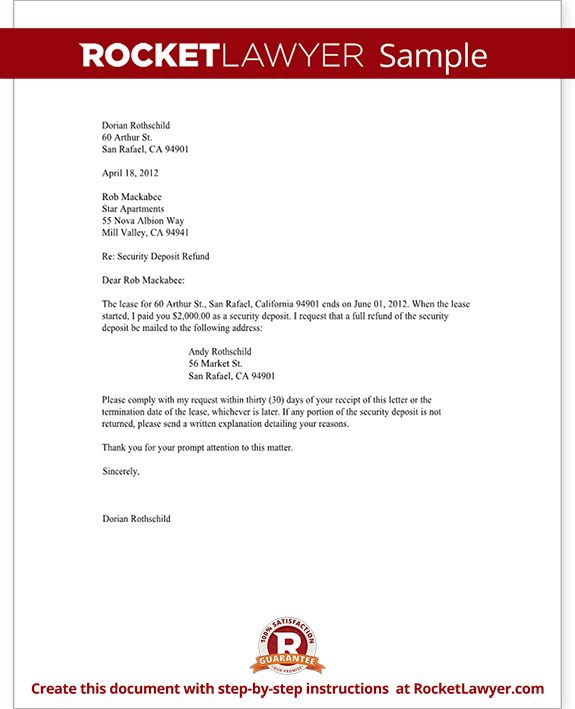 Tenant's Security Deposit Refund Letter - Template with Sample