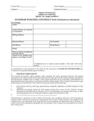 Painting Contractor Forms | Legal Forms and Business Templates ...