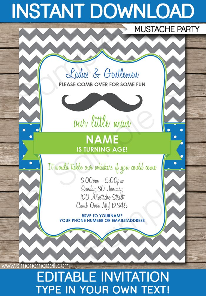 Mustache Party Invitations | Little Man Party | Birthday Party