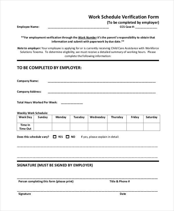 11+ Sample Employment Verification Forms | Sample ...