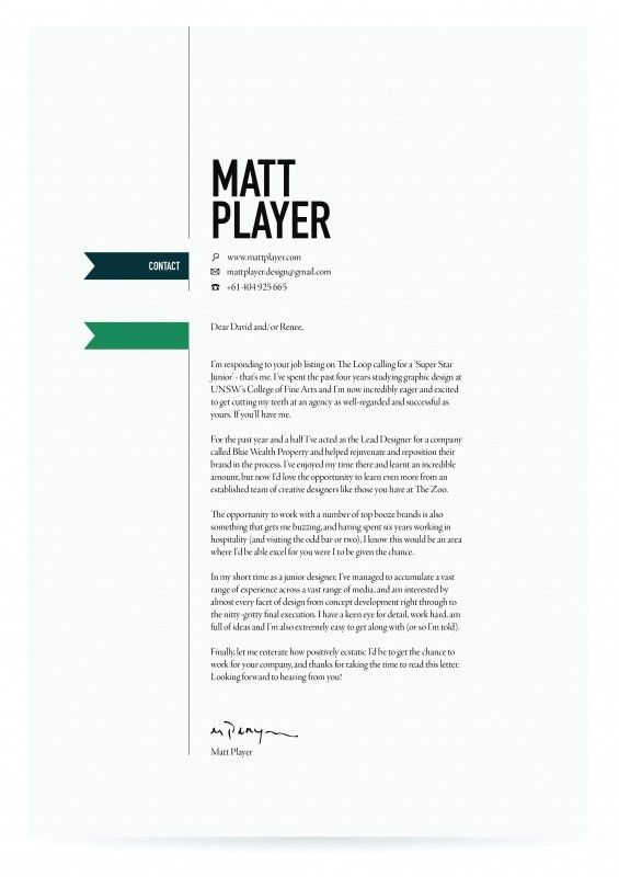 Cover Letter Design. | Branding: Logos // Business Cards // Office ...