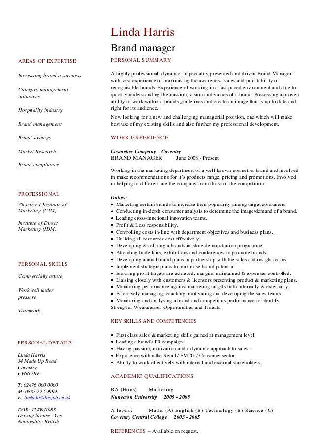 Cv Resume Example. Sample Chronological Resume Cv Template ...