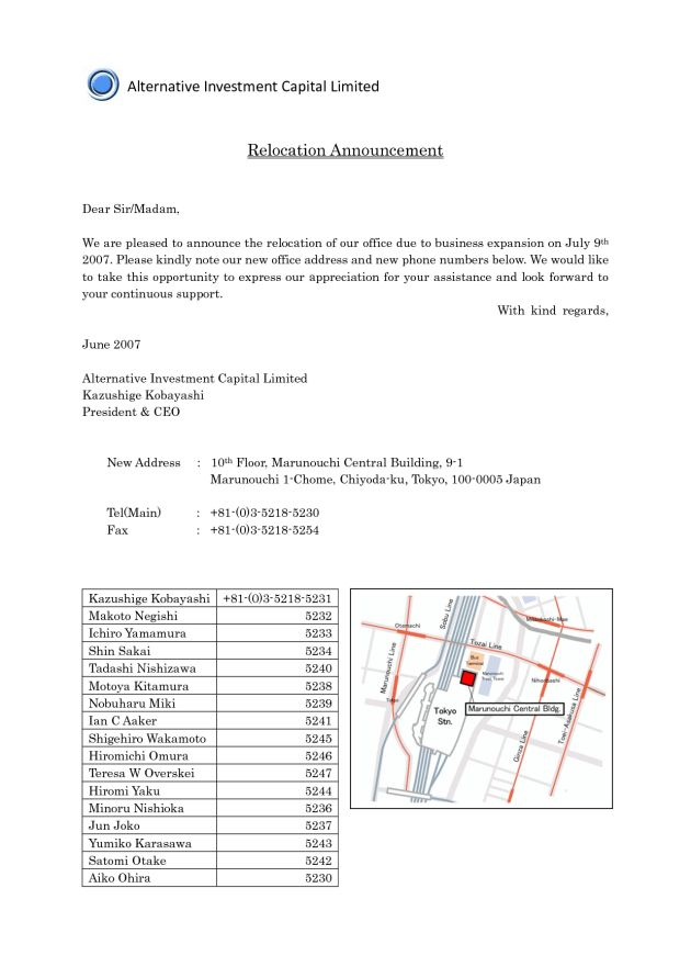 Business Relocation Announcement Letter Template Sample with Map ...