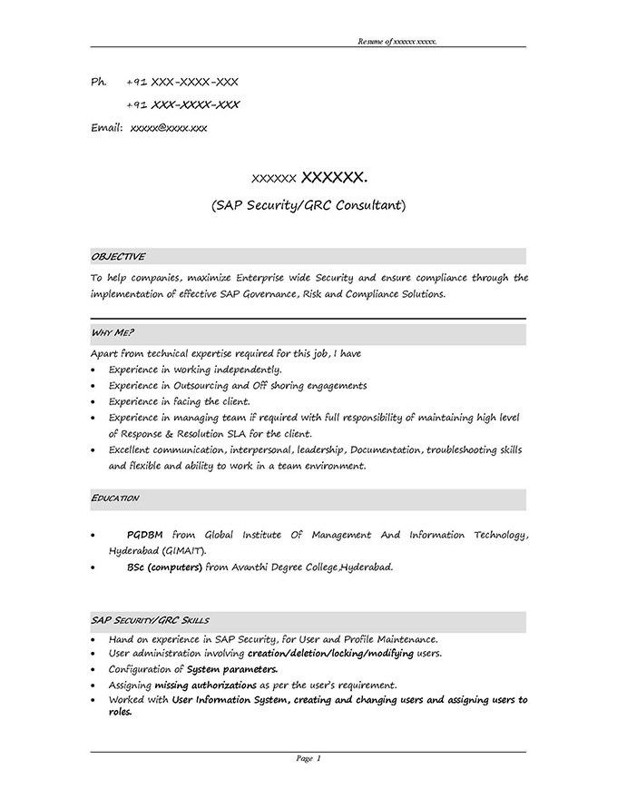 SAP GRC Security Sample Resume 3.10 years experience, STechies