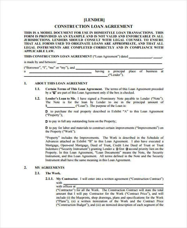 Loan Agreements Forms, 9+ construction agreement form samples ...