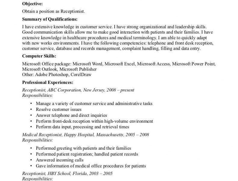 Receptionist Resume Templates. 7+ Receptionist Resume Templates ...