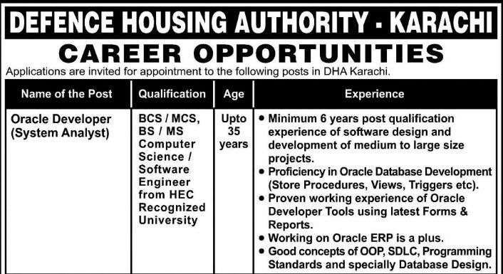 Oracle Developer Computer Programmer Jobs in Defence Housing Authority
