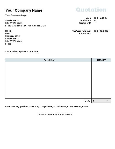 Sample Price Quotation Form Without Tax Calculation | Invoices ...