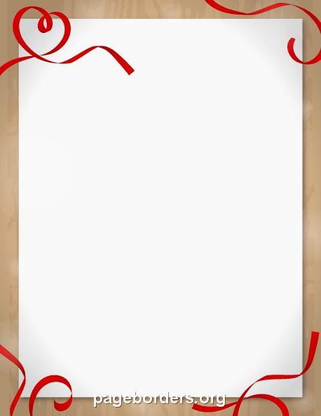 Printable ribbon heart border. Use the border in Microsoft Word or ...