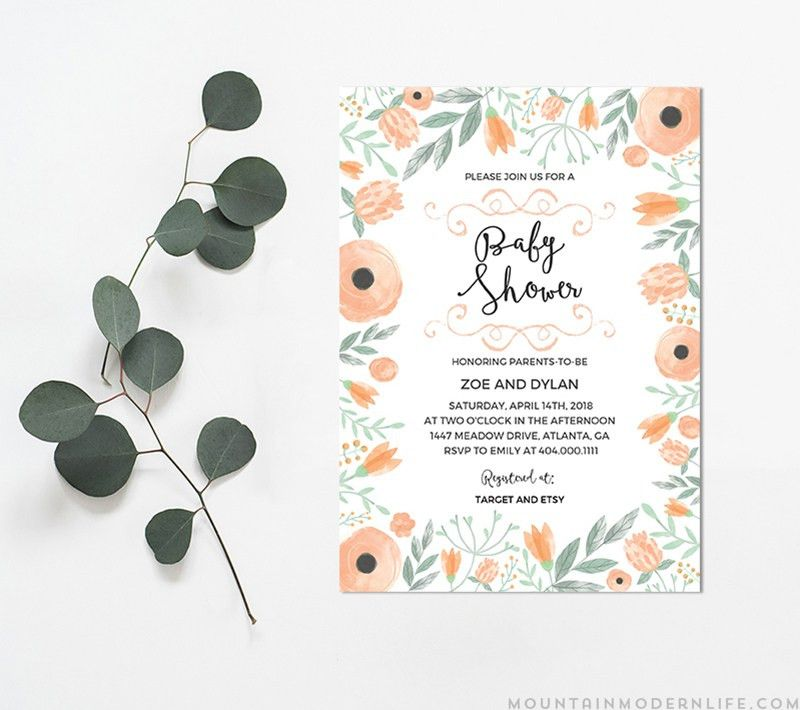 Printable Floral DIY Baby Shower Invitation | MountainModernLife.com
