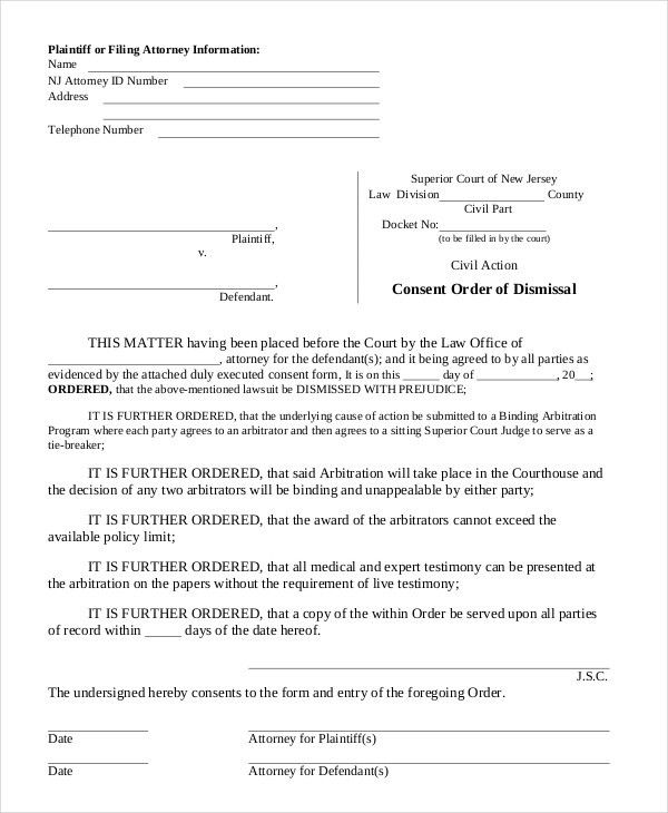 Consent Order Forms - 11+ Free Word, PDF Format Download | Free ...