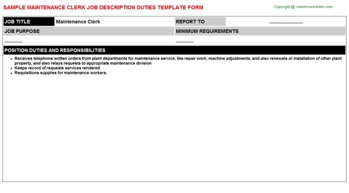 Maintenance Clerk Job Description