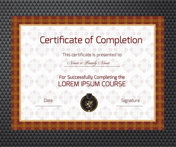 Completion certificate vector illustration with classical frame ...