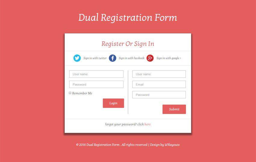 Dual Registration Form Responsive Widget Template - w3layouts.com