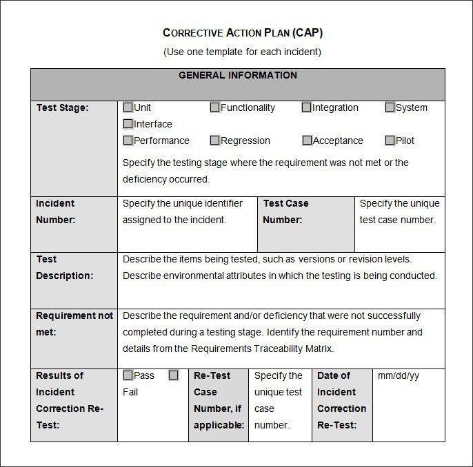 Employee Corrective Action Plan Template | Template idea