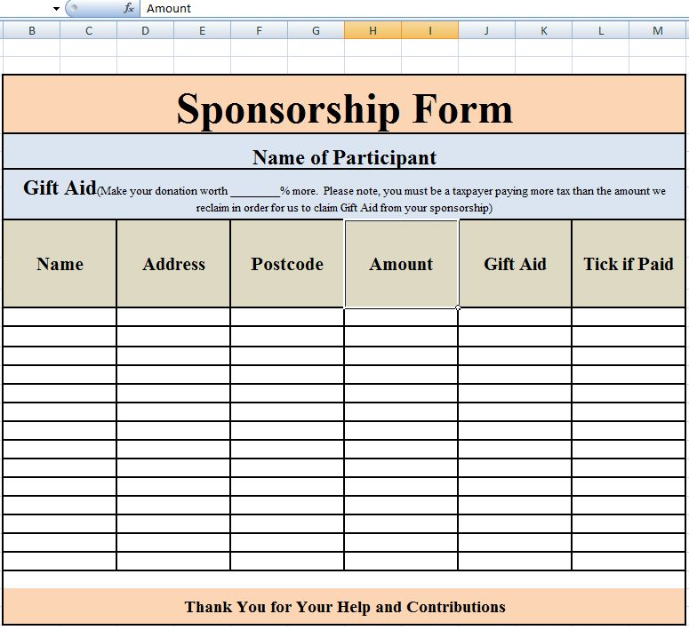 Sponsor Sheets Sponsorship Form Template Free Printable Word – Template Sponsor Form